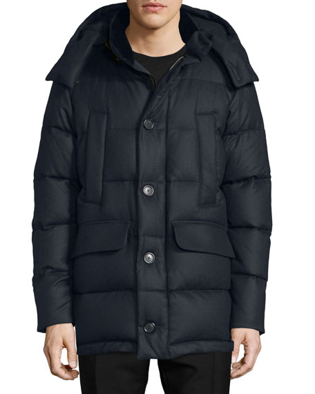 Burberry London Cashmere Puffer Coat with Fur Trim,