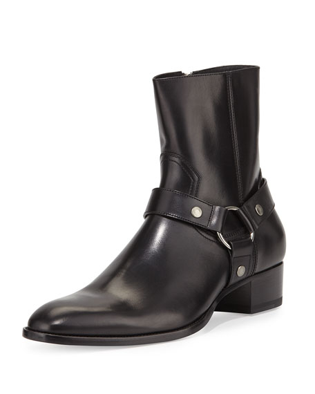 Saint Laurent Wyatt Leather Harness Boot, Black