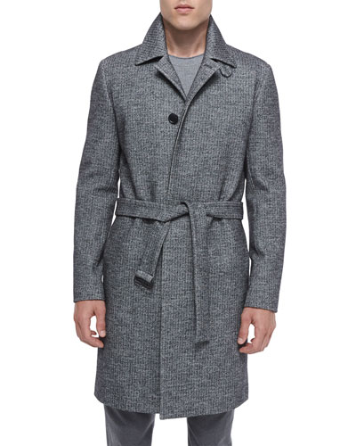Single-Breasted Textured Wool Coat, Black