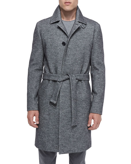 Theory Single-Breasted Textured Wool Coat, Black