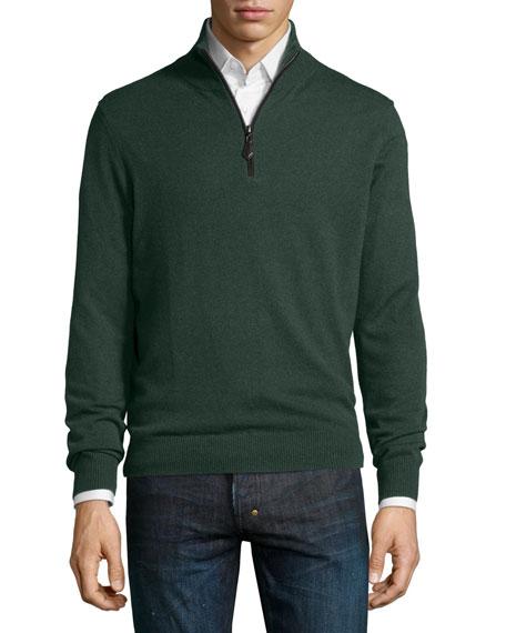 Neiman Marcus Nano-Cashmere 1/4-Zip Pullover, Green