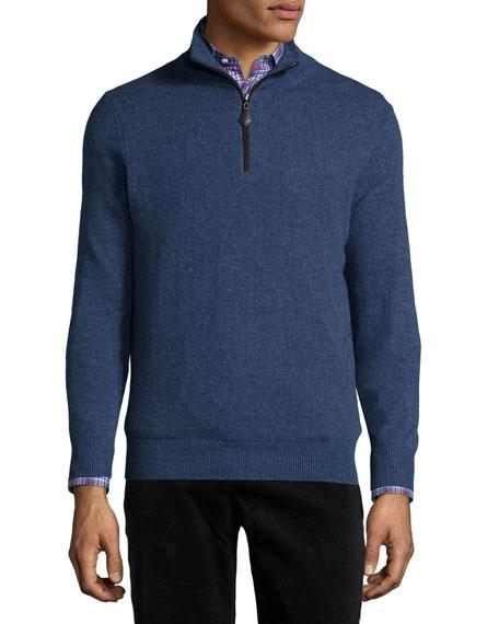 Neiman Marcus Nano-Cashmere 1/4-Zip Pullover, Dark Blue