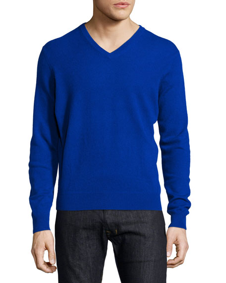 Neiman Marcus Cashmere V-Neck Sweater, Blue