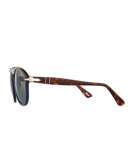 649-Series Acetate Polarized Sunglasses, Tortoise/Blue