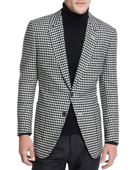 TOM FORD Buckley Base Large-Gingham Sport Coat, Black/White