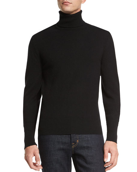 Cashmere Turtleneck Sweater, Black