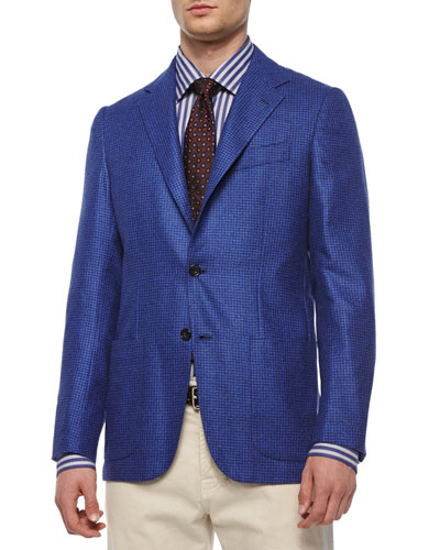 Cashmere Check Two-Button Blazer, Light Blue