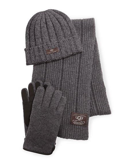 UGG Australia Calvert Ribbed Knit Three-Piece Set, Gray