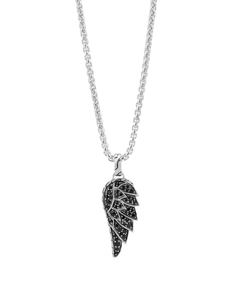 Men's Classic Chain Black Sapphire Eagle Wing Pendant Necklace