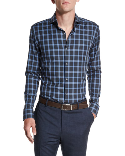 Dwayne Slim-Fit Plaid Dress Shirt, Charcoal/Blue