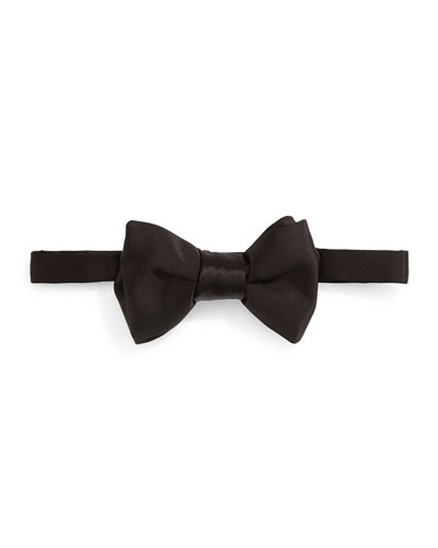 Solid Satin Bow Tie, Black