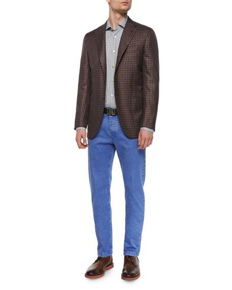 Check Cashmere Three-Button Sport Coat, Brown/Blue