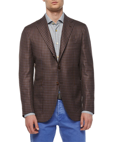 Kiton Check Three-Button Sport Coat, Check Long-Sleeve Woven