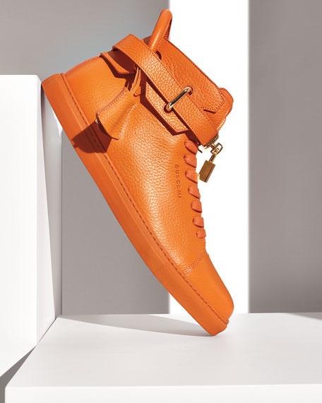 100mm High-Top Leather Sneaker, Orange