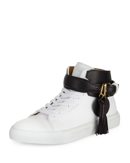 Buscemi Men's 100mm Tassel Leather High-Top Sneakers, White
