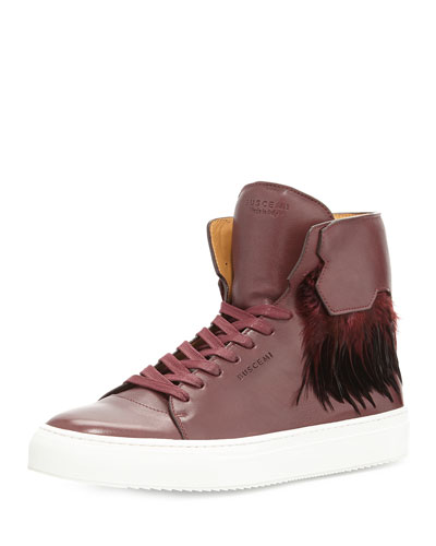 125mm Leather High-Top Sneaker with Feathers, Burgundy