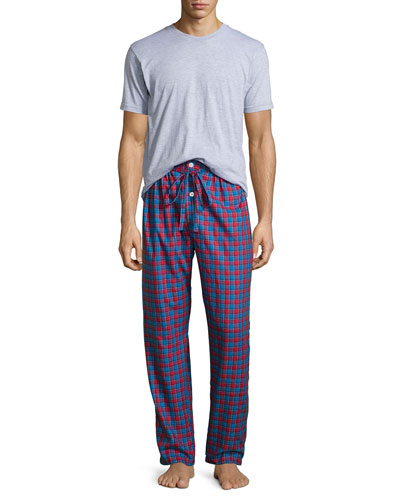 Flannel Two-Piece Pajama Set, Red