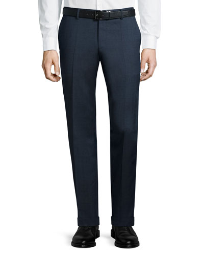 Solid Slim-Fit Wool Trousers, Navy