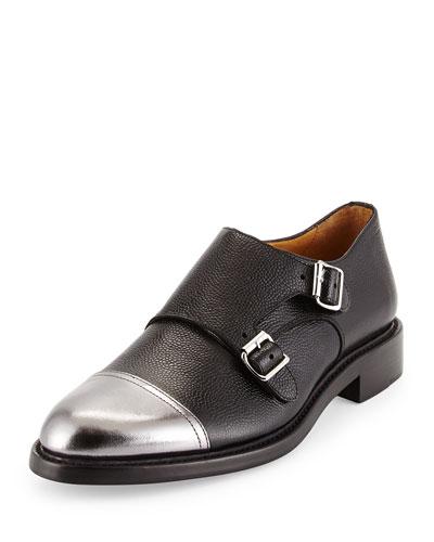 Colin Double-Monk Cap-Toe Shoe, Tumbled Black