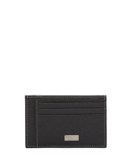 Salvatore Ferragamo Revival Flat Leather Card Case, Black