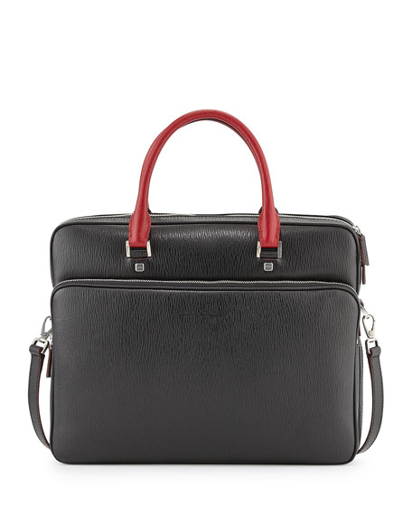 Salvatore Ferragamo Revival Two-Tone Slim Briefcase, Black/Red