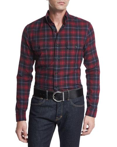 Check Sport Shirt, Black/Red