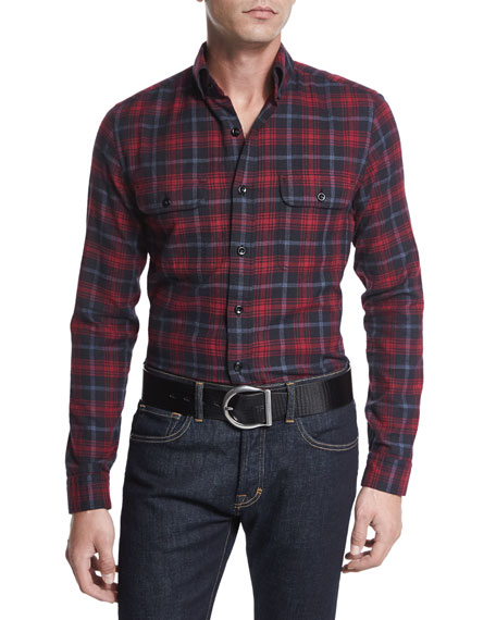 TOM FORD Check Sport Shirt, Black/Red