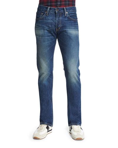 Straight-Fit Vintage-Wash Selvedge Denim Jeans, Blue
