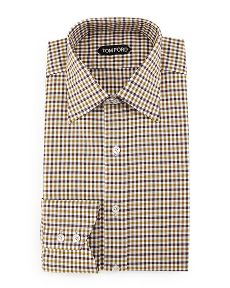 TOM FORD Gingham Dress Shirt, Aubergine