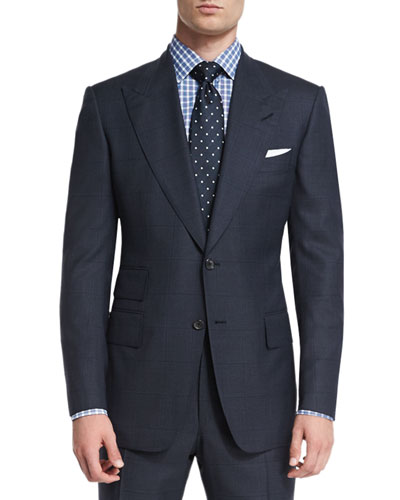 Windsor Base Windowpane Two-Piece Suit, Navy