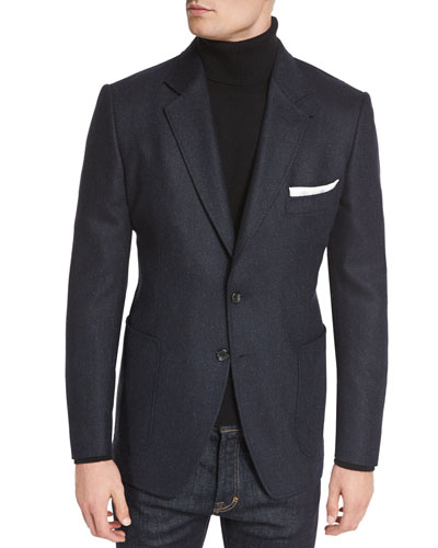 TOM FORD O'Connor Base Tweed Cardigan Jacket, Navy