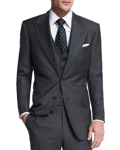 Windsor Base Sharkskin Three-Piece Suit  Charcoal