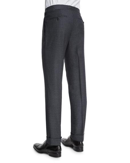 O'Connor Base Flat-Front Sharkskin Trousers, Light Gray