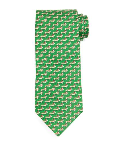 Santa-Dog Silk Tie, Green
