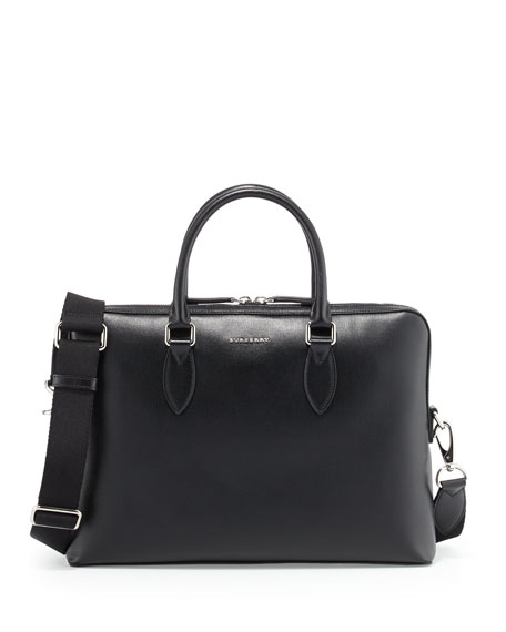 Burberry Barrow Grained Leather Briefcase, Black