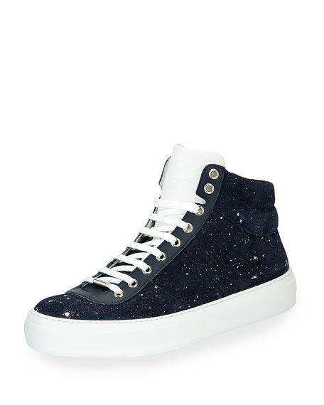 Jimmy Choo Spotted Suede High-Top Sneaker, Blue