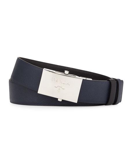Reversible Leather Plaque Belt