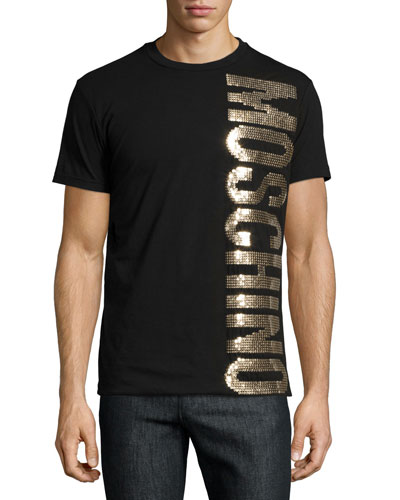 Gold-Sequin Logo Tee, Black