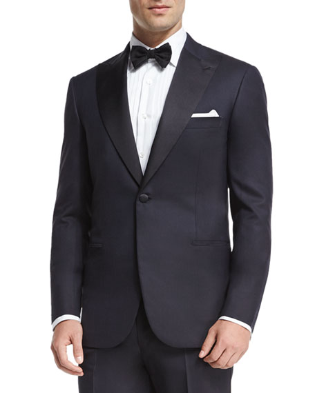 Brioni Satin Peak-Lapel Tuxedo & Formal Silk Scarf