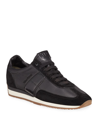 Men's Colorblock Leather-Suede Runner Sneakers  Black