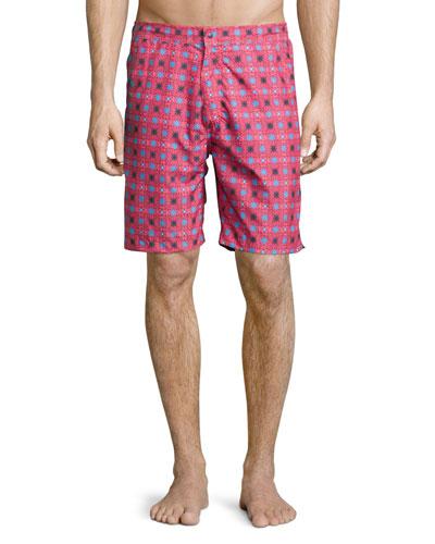 Waimea Floral-Print Swim Trunks, Red Pattern