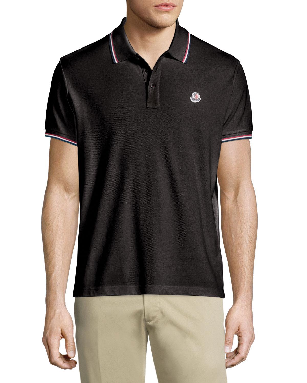 67e092b4 Moncler Twin-Tipped Short-Sleeve Pique Polo, Black | Neiman Marcus