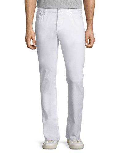 Slim-Fit Straight-Leg Jeans, White