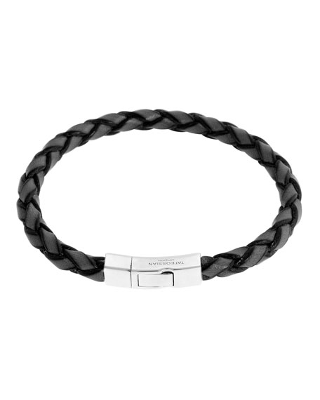 Tateossian Men's Braided Leather Silver Bracelet – M, Silver