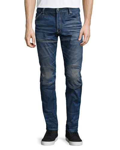 Raw For The Oceans Slim-Fit Moto Jeans, Blue
