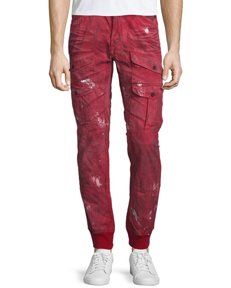 PRPS Distressed Cargo-Pocket Jogger Pants, Red