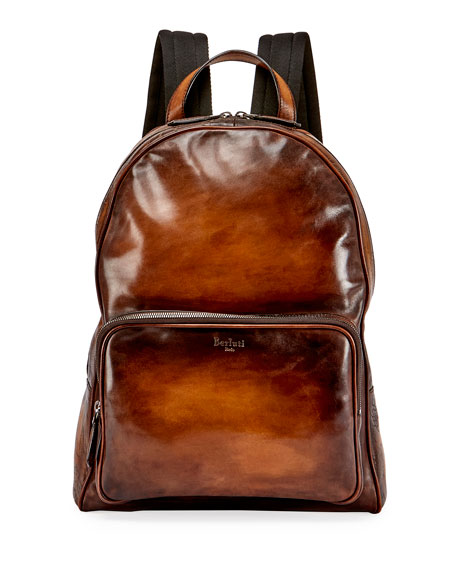 Berluti Time Off Leather Backpack, Tobacco Bis