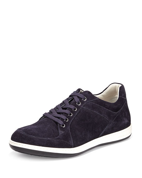 Giorgio Armani Perforated Suede Low-Top Sneaker, Blue