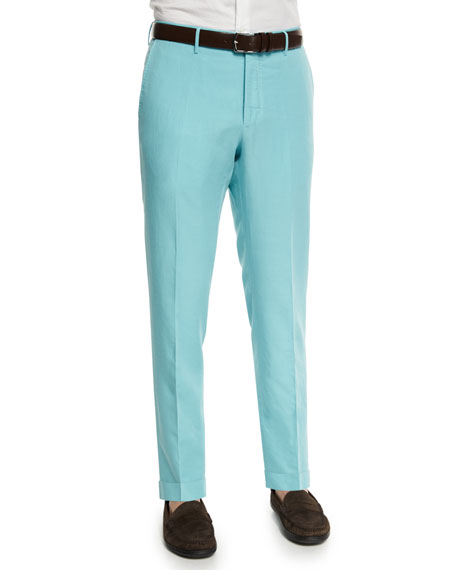 Incotex Chinolino Linen-Blend Trousers, Aqua