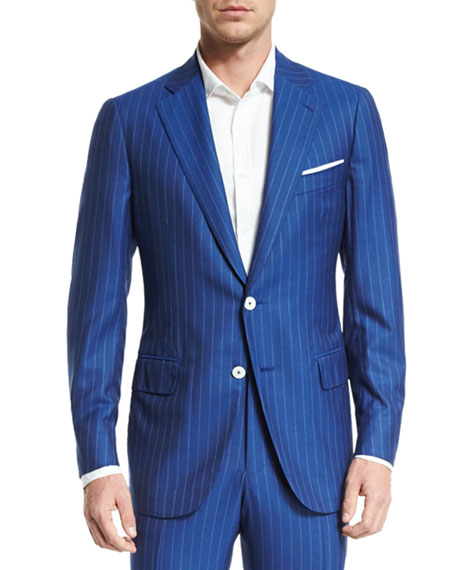 Isaia Super 160s Striped Wool Suit, Blue